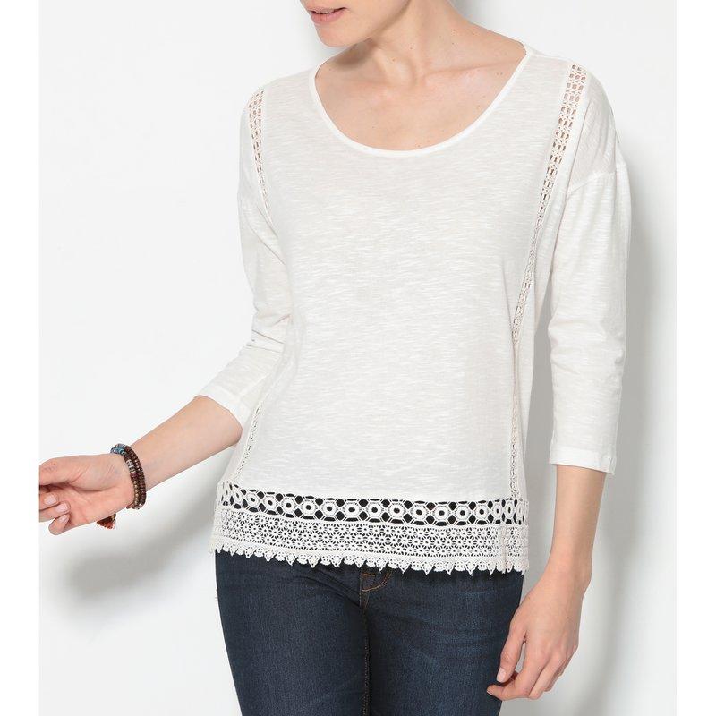 Camiseta mujer manga 3/4 con guipur largo asimétrico