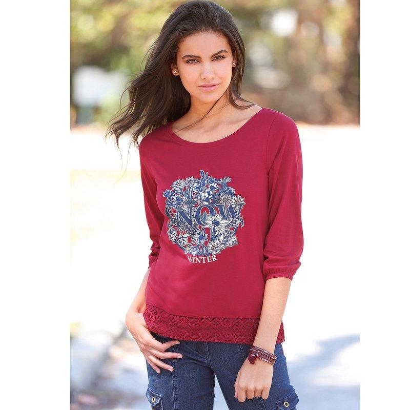 Camiseta mujer estampada de algodón con guipur