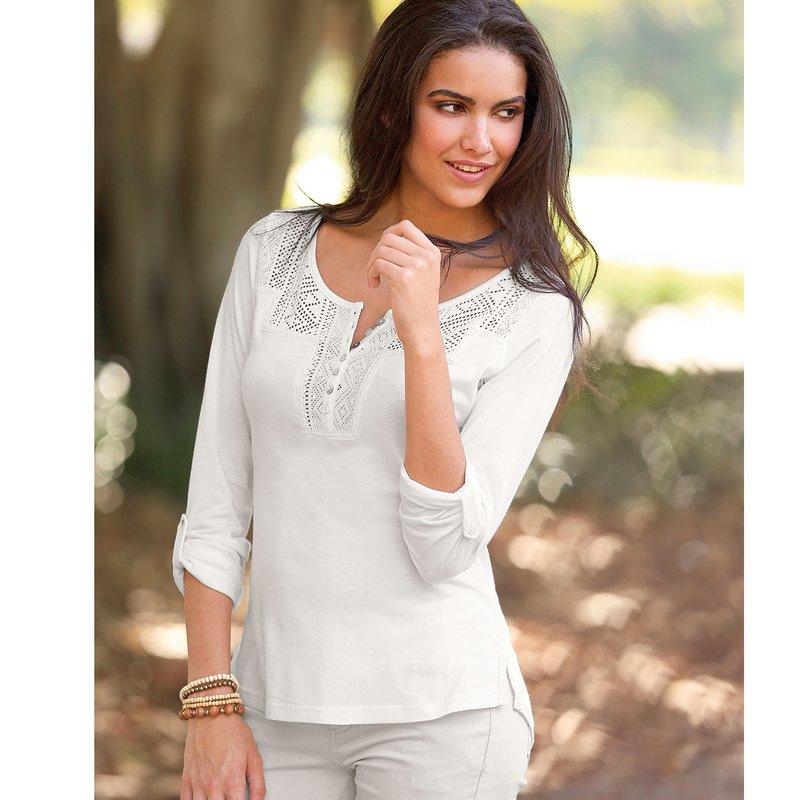 Camiseta mujer regulable con guipur algodón bio