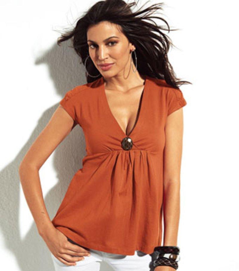 Camiseta mujer escote V con faldon algodón - Marrón