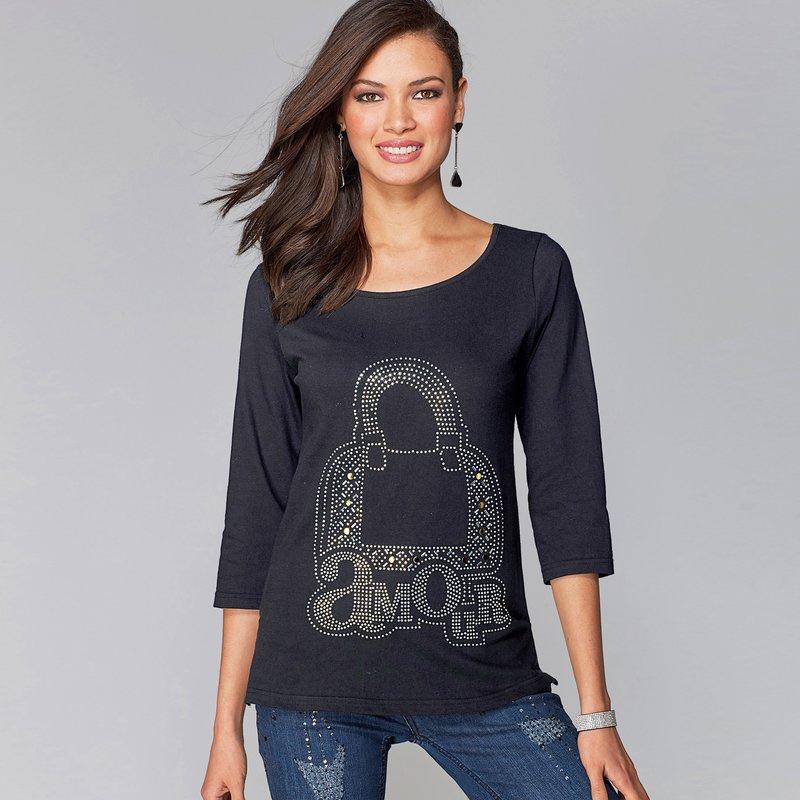 Camiseta manga 3/4 algodón con strass aplicado