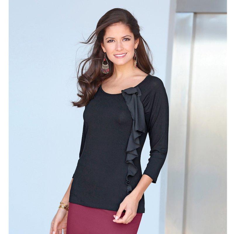 Camiseta mujer con pliegue, volante y lazo en voile