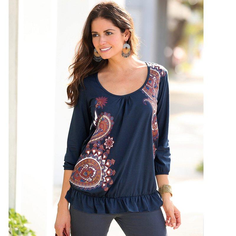 Camiseta mujer manga 3/4 en algodón con volante