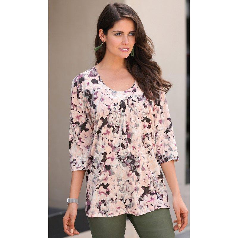 Camiseta manga 3/4 evasé con fruncido estampada flores