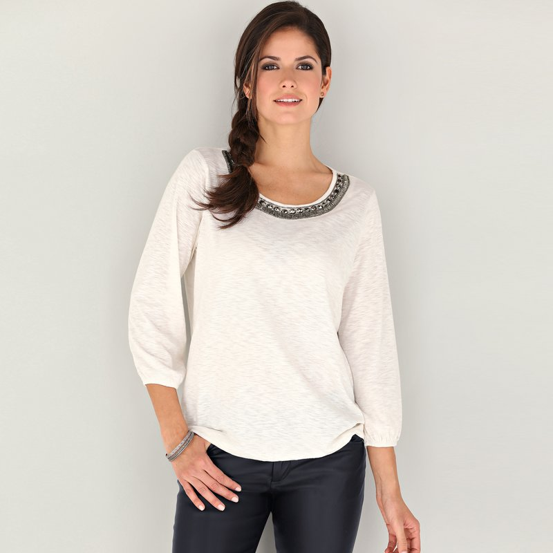 Camiseta mujer manga 3/4 punto algodón slub