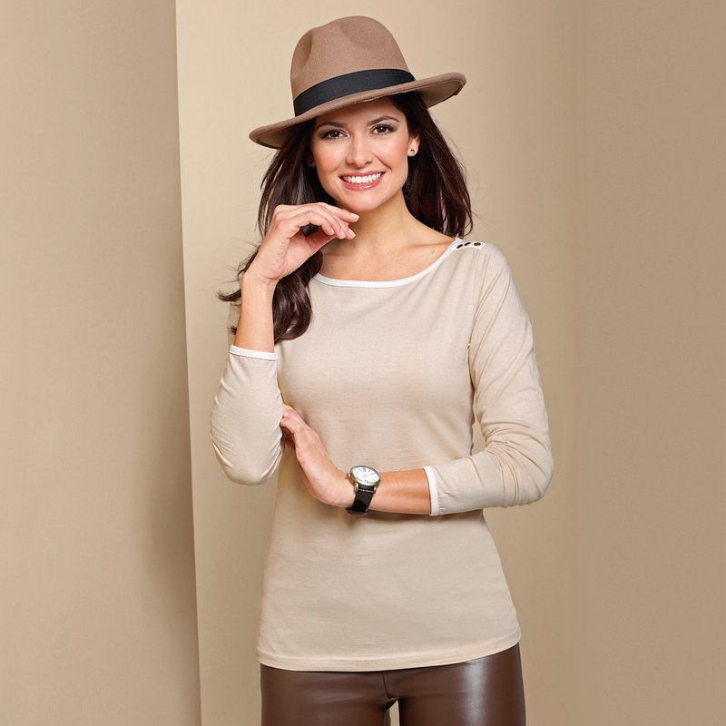Camiseta mujer manga larga con aplicaciones metálicas