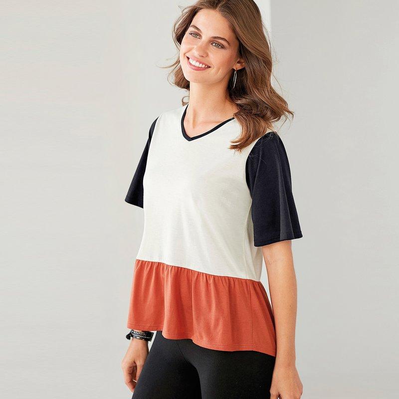 Camiseta mujer tricolor con manga corta y volante