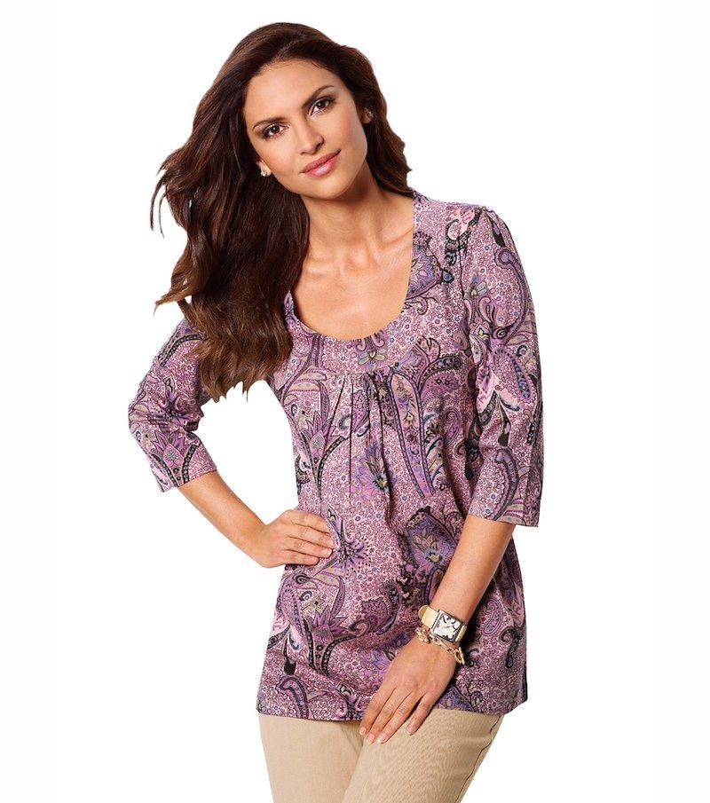 Camiseta mujer manga 3/4 de algodón con pliegues - Lila