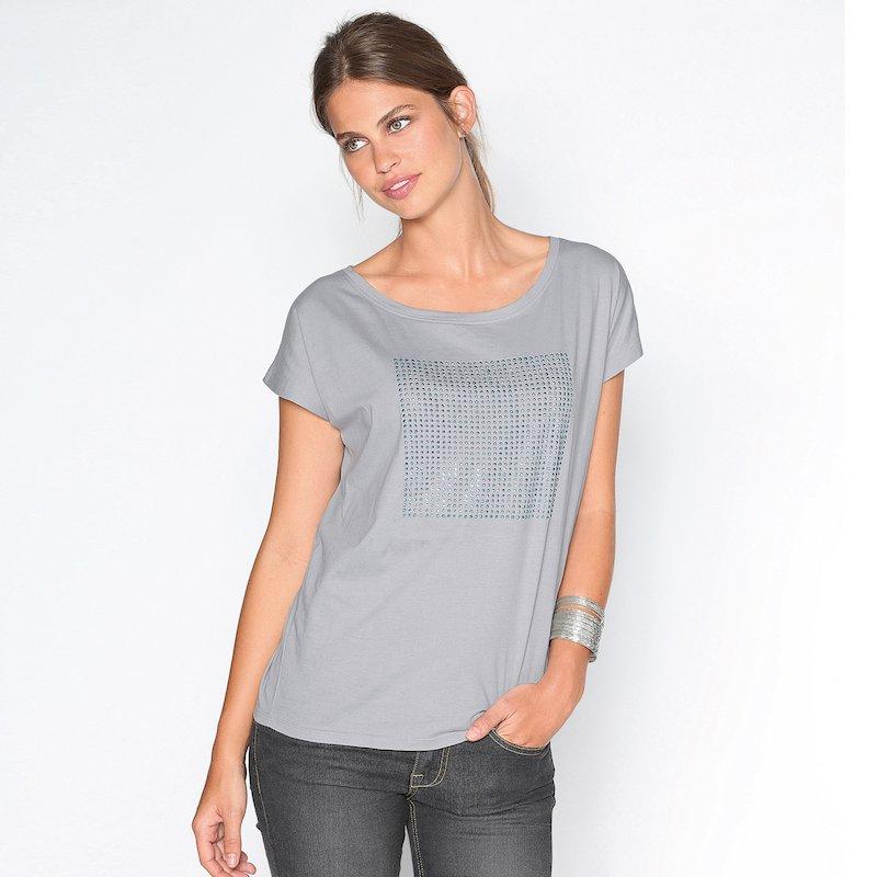 Camiseta señora manga corta con strass 100% algodón