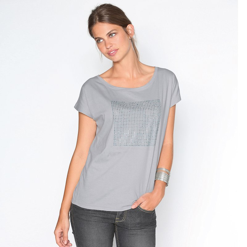 Camiseta señora manga corta con strass 100% algodón - Gris