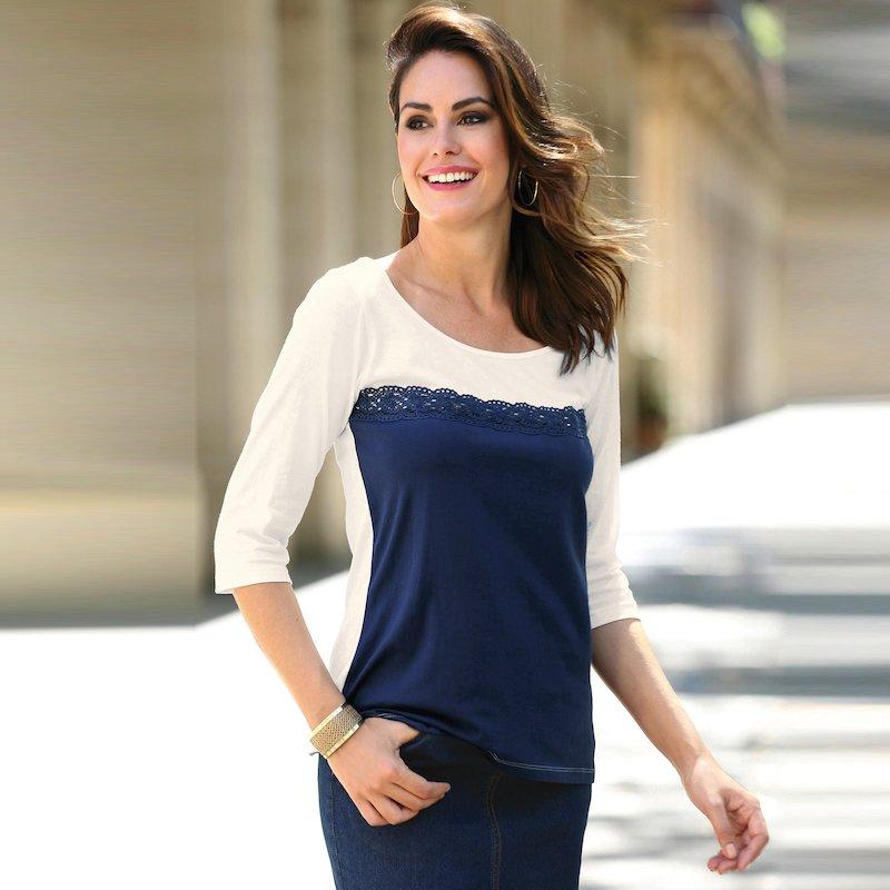 Camiseta mujer de algodón manga 3/4 con guipur