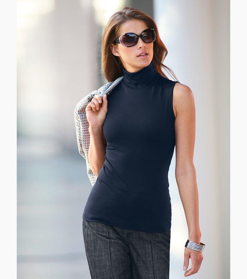 Camiseta mujer sin mangas cuello cisne elástica