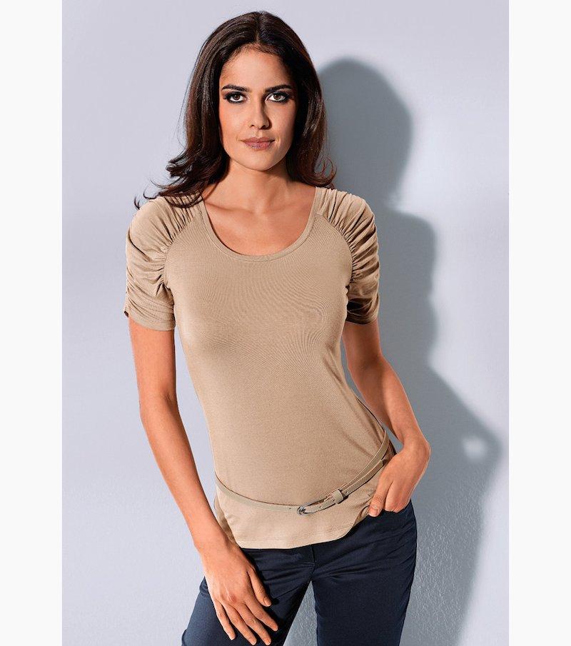 Camiseta mujer manga corta fruncida punto elástico - Beige