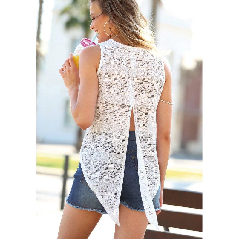 Camiseta sin mangas de algodón mujer con encaje