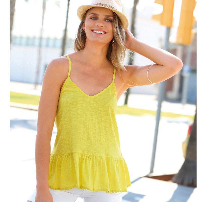 Camiseta tirantes mujer algodón con volante y guipur