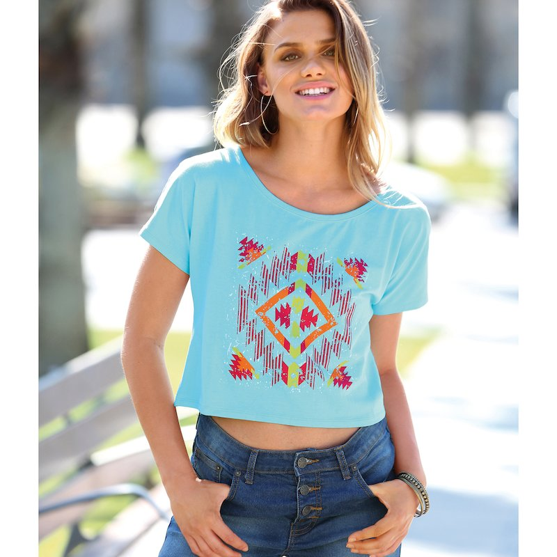 Camiseta mujer manga corta de algodón étnico