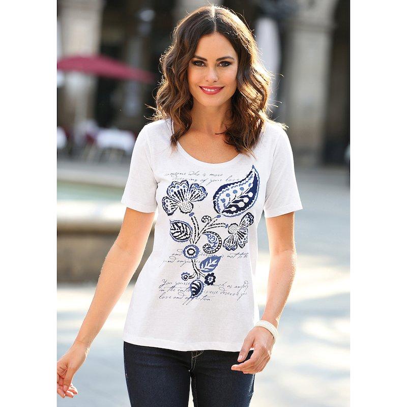 Camiseta mujer con aplicaciones de strass estampada