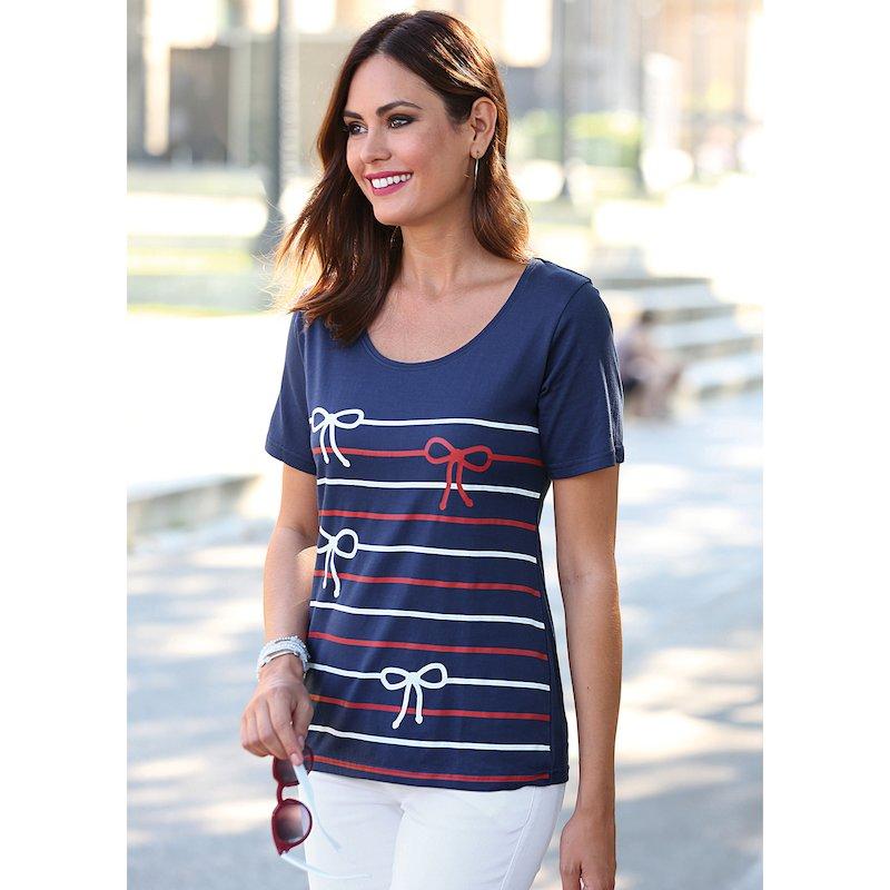 Camiseta de manga corta estampada con lazos bicolores