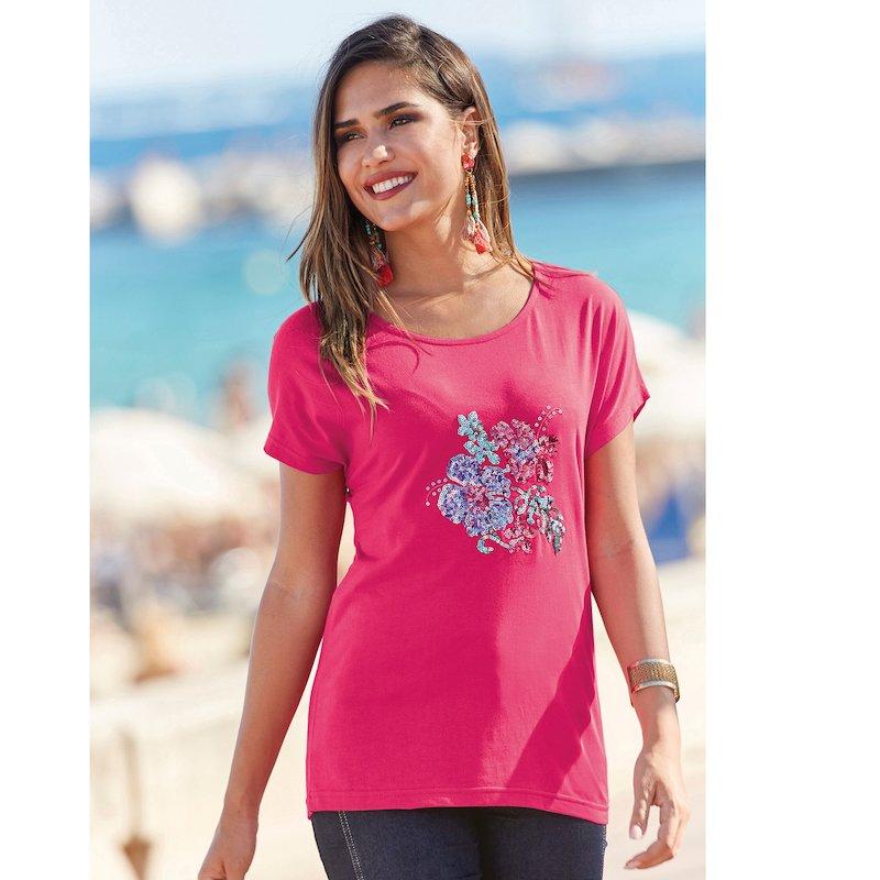 Camiseta mujer con diseño bordado de lentejuelas
