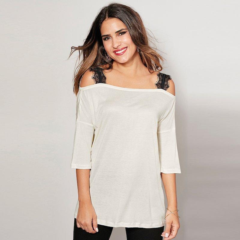 Camiseta de vestir mujer con tirantes de encaje