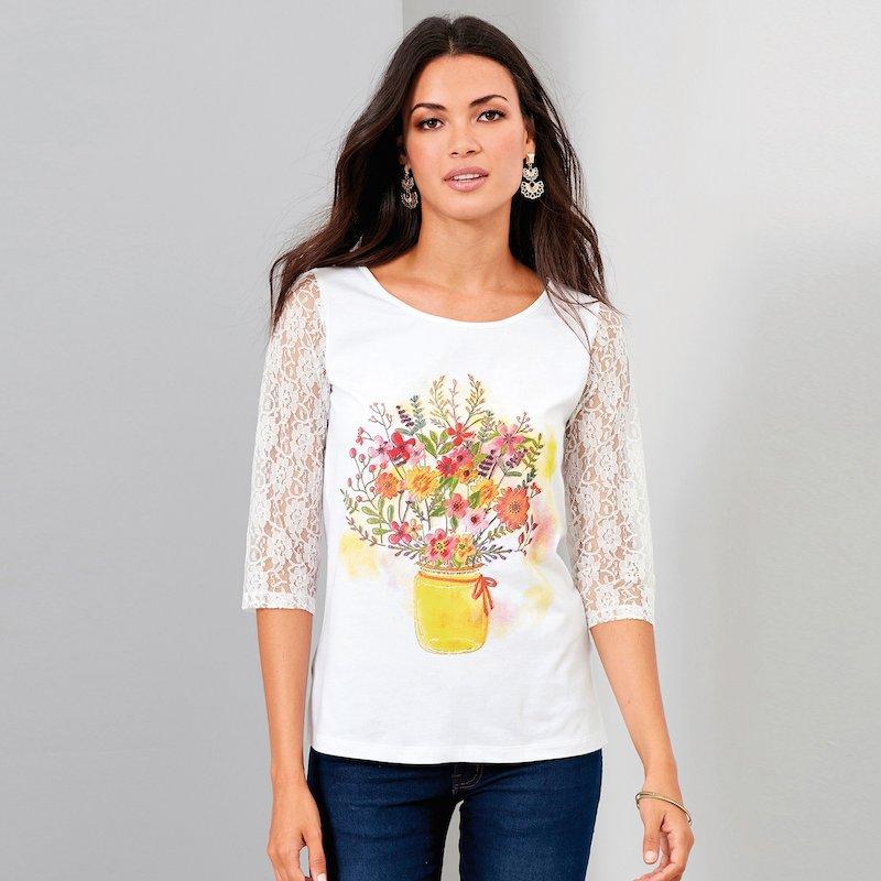 Camiseta mujer estampada con mangas de encaje - Blanco