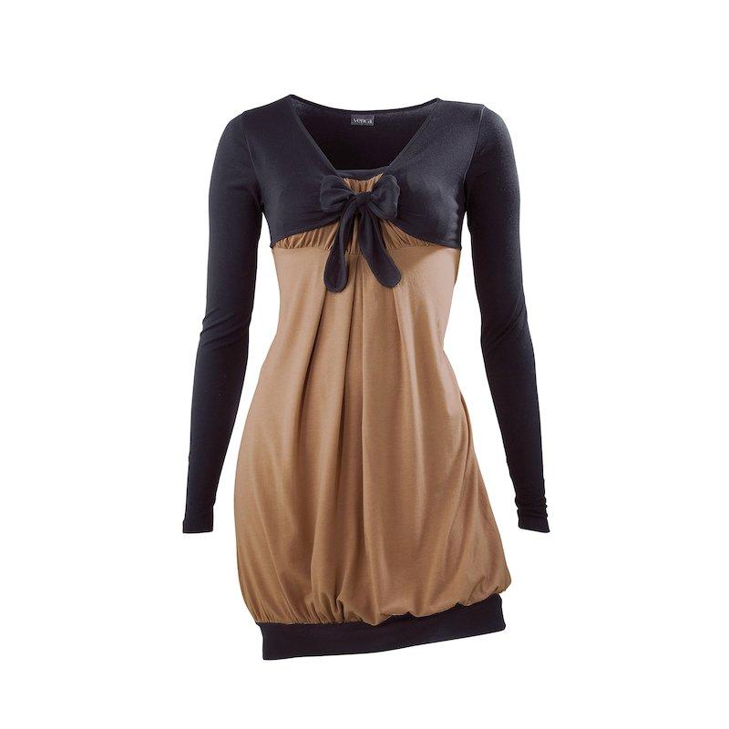 Camiseta mujer manga corta efecto doble - Beige