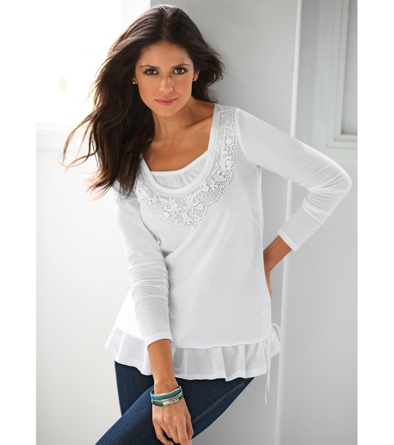 Camiseta mujer manga larga efecto doble con guipur