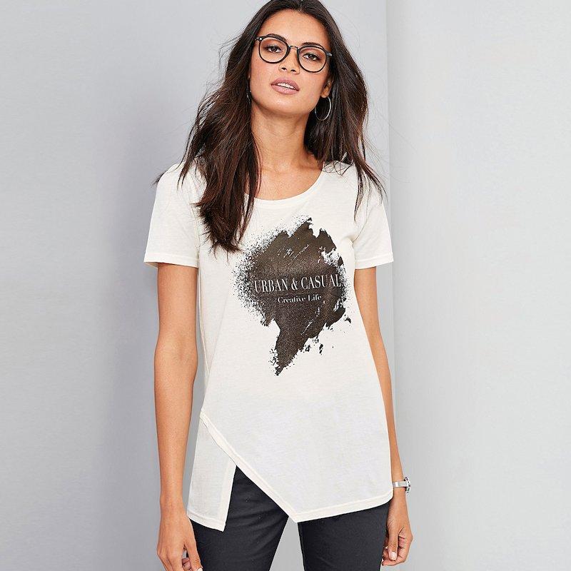 Camiseta manga corta mujer con estampado gráfico