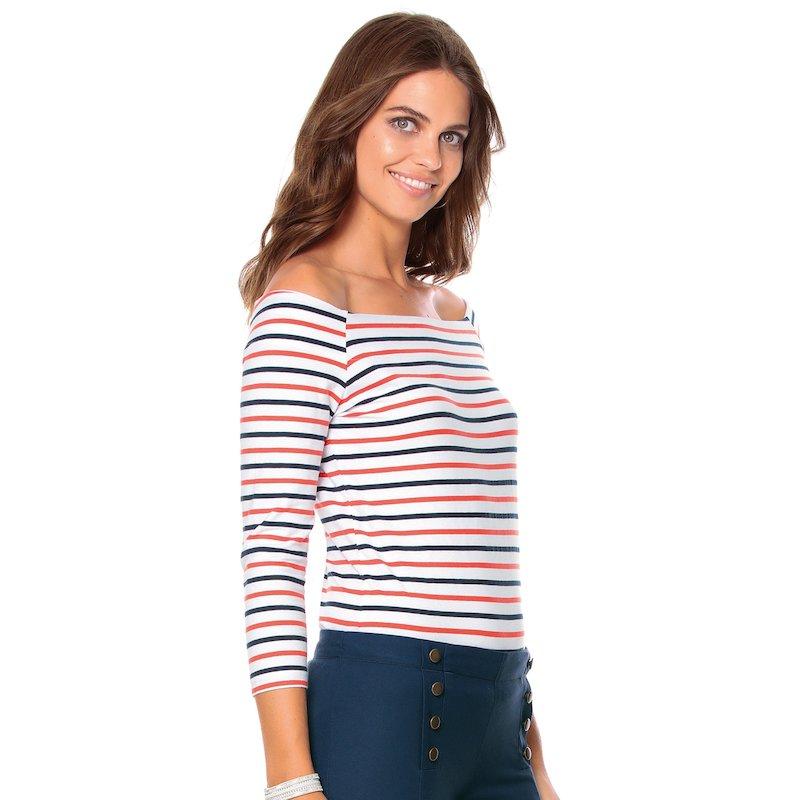 Camiseta de rayas mujer manga 3/4 mujer en algodón - Blanco
