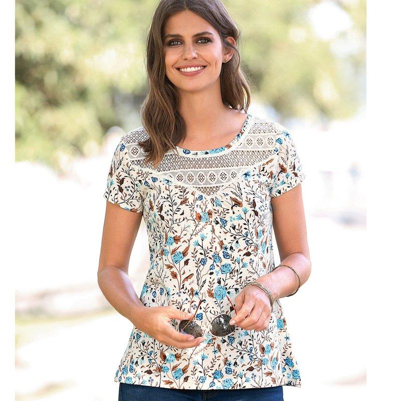 Camiseta estampada flores con canesú de guipur