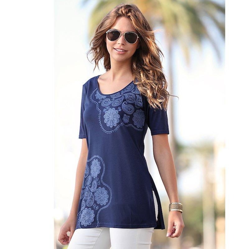 Camiseta mujer manga corta de algodón cachemira