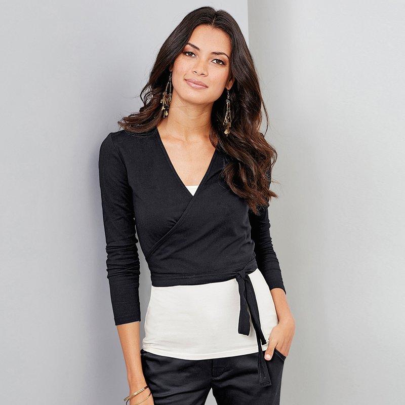 Camiseta bailarina manga larga en algodón elástico