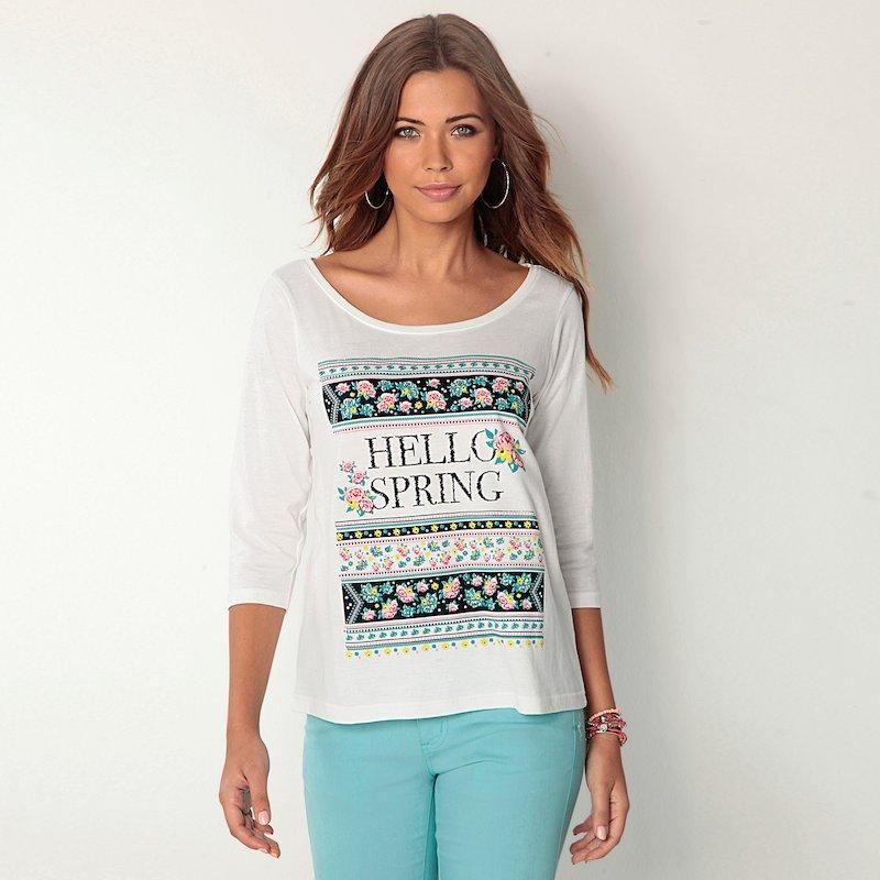 Camiseta mujer manga 3/4 de algodón estampado