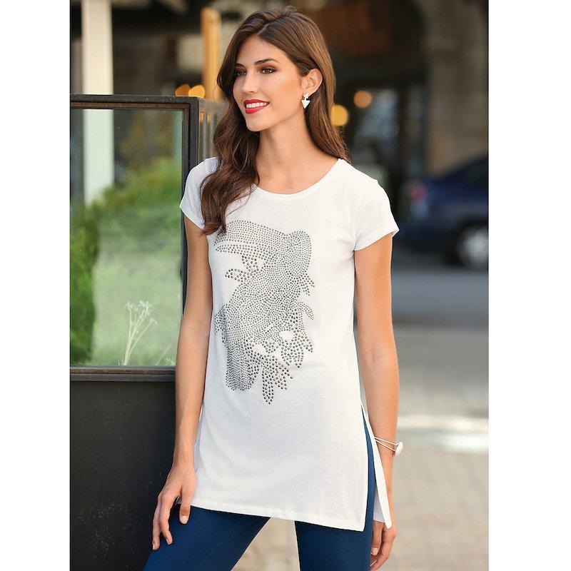 Camiseta algodón manga corta mujer con tucán de strass