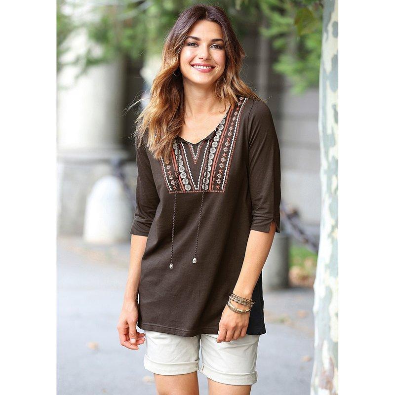 Camiseta étnica mujer de algodón con escote caftán