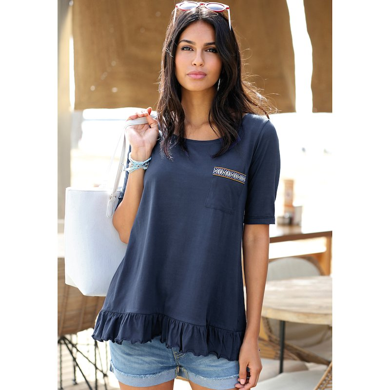 Camiseta manga corta algodón mujer bordada