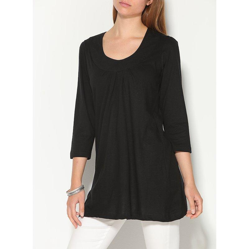Camiseta larga con pieza en el escote y pliegues de manga 3/