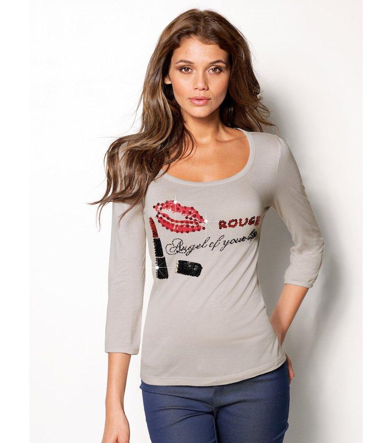 Camiseta mujer manga corta con aplicaciones - Beige