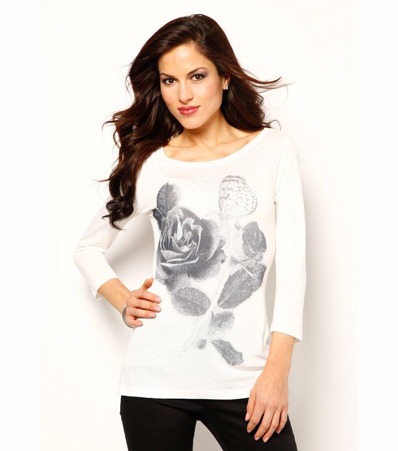 Camiseta mujer manga 3/4 con estampado y strass