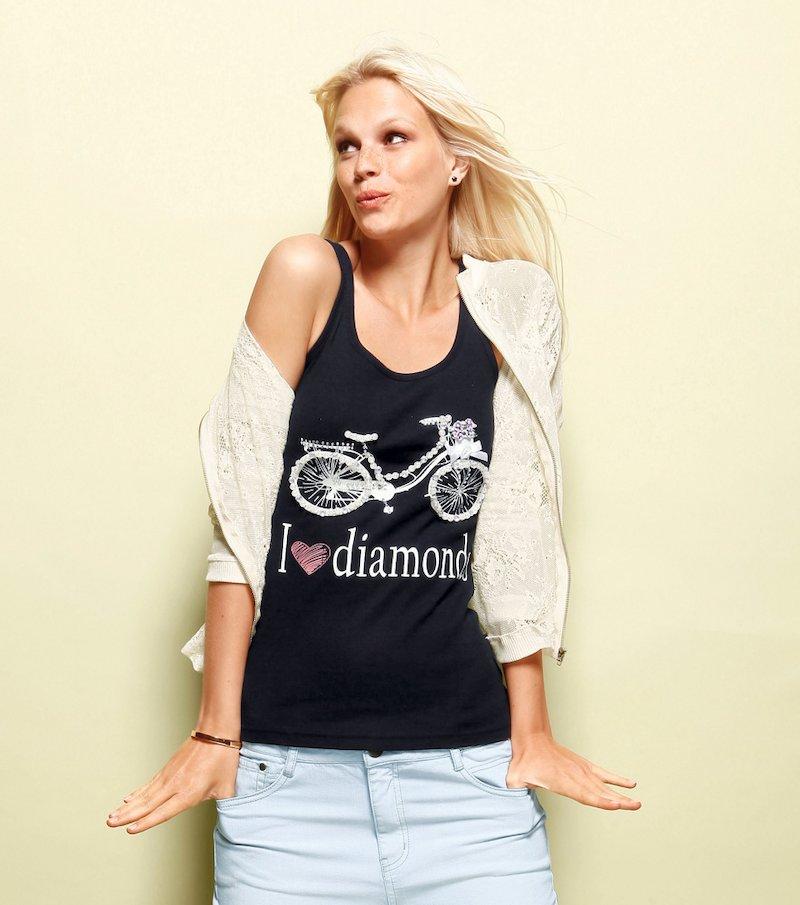 Camiseta mujer sin mangas con perlas y strass