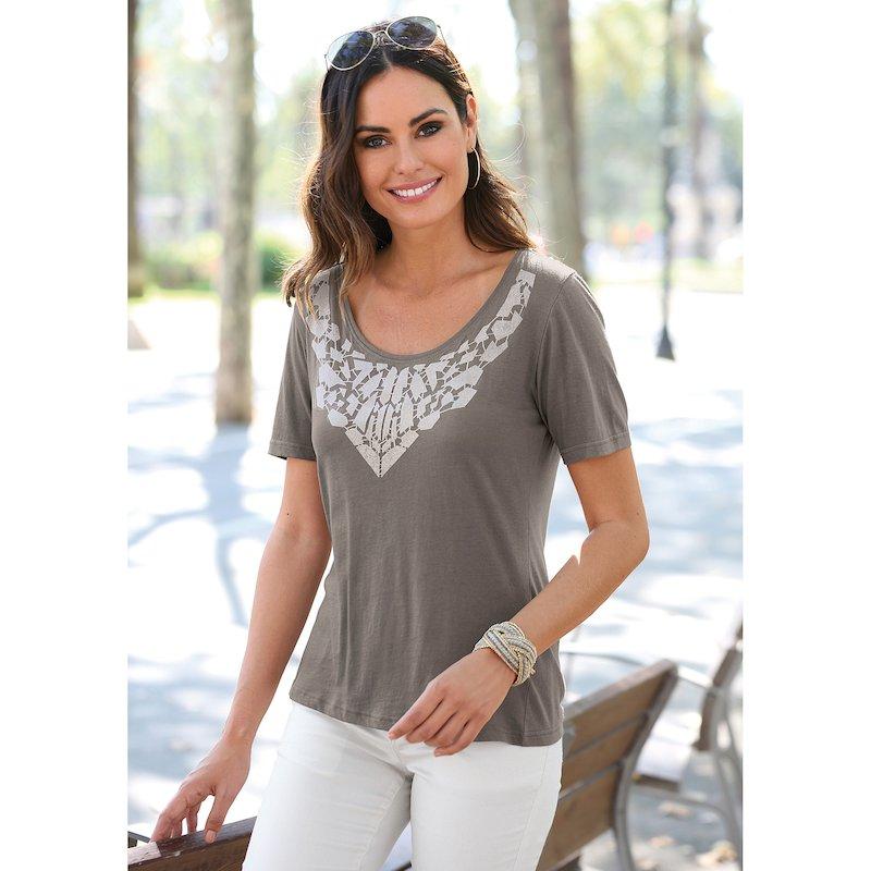 Camiseta mujer con estampado frontal de terciopelo