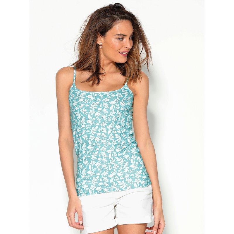 Camiseta estampada de mujer de punto elástico