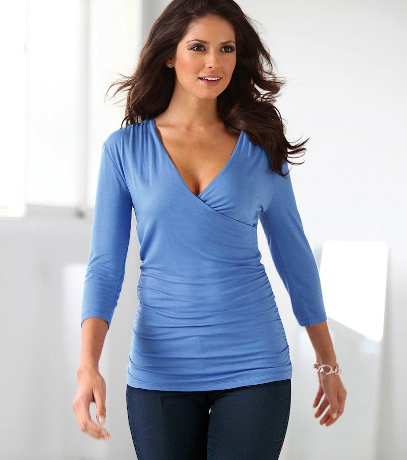 Camiseta mujer manga 3/4 punto elástico