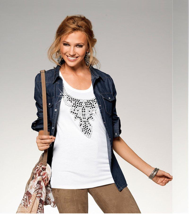 Camiseta mujer sin mangas con tachuelas