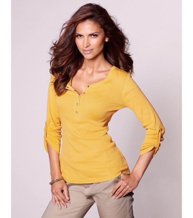 Camiseta mujer manga regulable - Amarillo