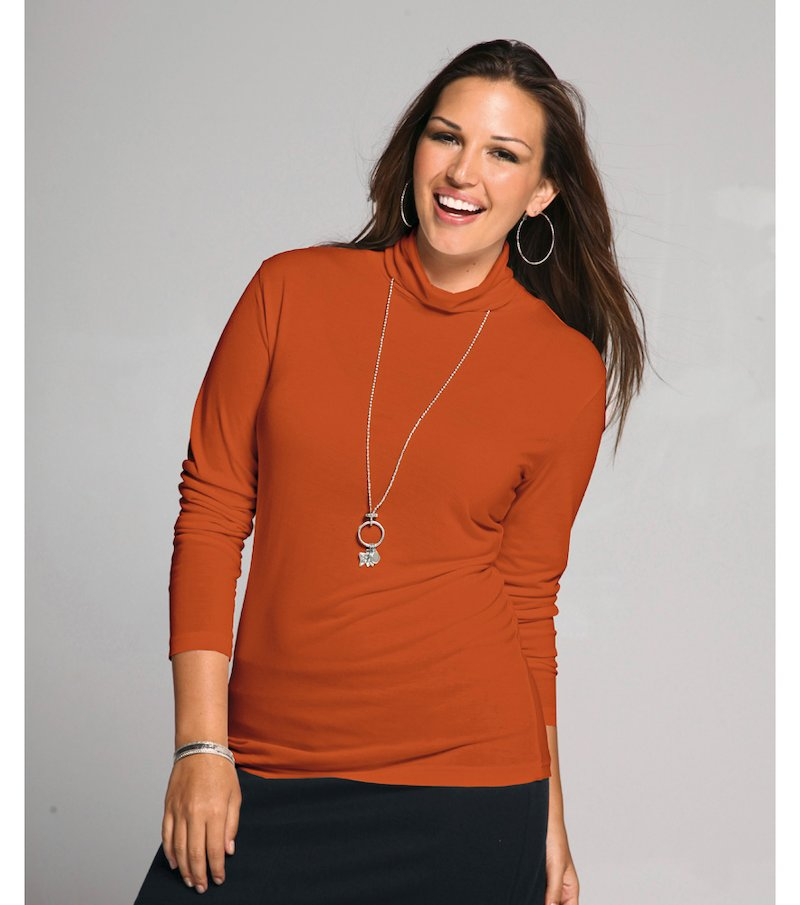 Camiseta mujer manga larga cuello cisne
