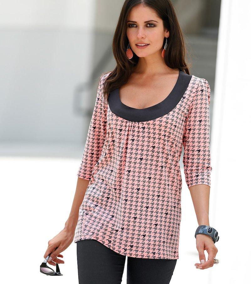 Camiseta mujer manga 3/4 estampada - Rosa