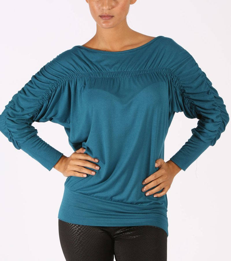 Camiseta mujer fruncida con elásticos - Azul