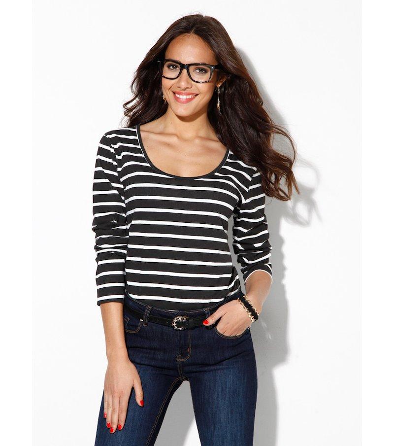 Camiseta mujer manga larga rayas