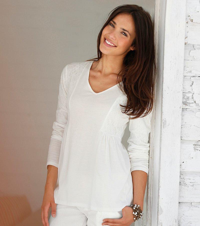 Camiseta mujer manga larga con puntilla a tono